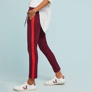 Anthropologie Essential Slim Striped Trouser Red